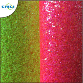 Shinny Synthetic Glitter Faux Leather Red Green Color Non Woven Type Non Toxic