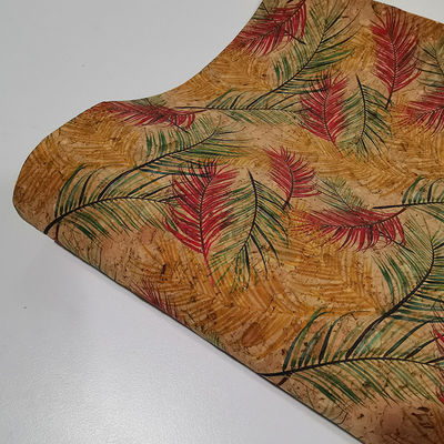 Tropical Flowers Vegan Leather Printed Cork Fabric
