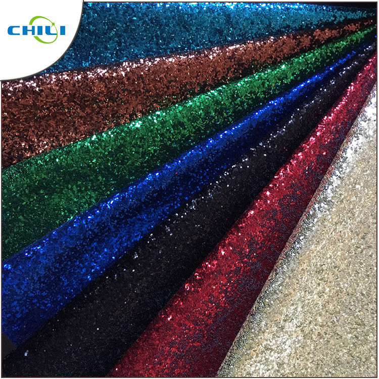 Garment Glitter Leather Fabric Customized Color Size Elegant For Handbags